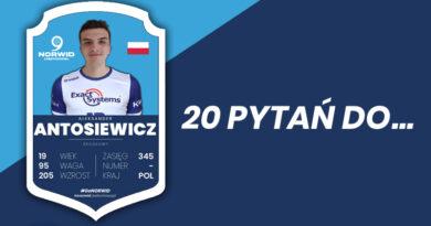 """Z cyklu """" Dwadzieścia pytań do…"""" Aleksander Antosiewicz, środkowy Exact Systems Norwid Częstochowa."""